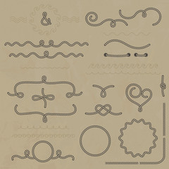 Vector set nautical elements of the rope.
