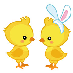 Pair of cute Easter chicks. Vector illustration. Set Isolated separately on white background.