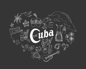 Set of hand drawn Cuba icons, Cuban sketch illustration, doodle elements, Isolated national elements made in vector. Travel to Cuba icons for cards and web pages