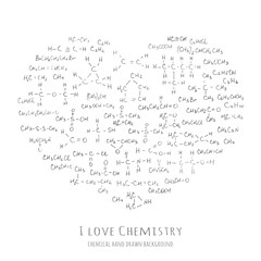 Heart shaped background with handwritten chemical formulas, organic molecules - vector illustration, hand drawn chemistry vector pattern with formulas of different molecular carbon combinations