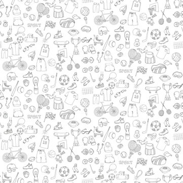 Seamless background hand drawn doodle sport set. Vector sketchy sport related icons, tennis, golf, baseball, basketball, football, soccer, volleyball, rugby, hockey, fitness, boxing, running, bicycle