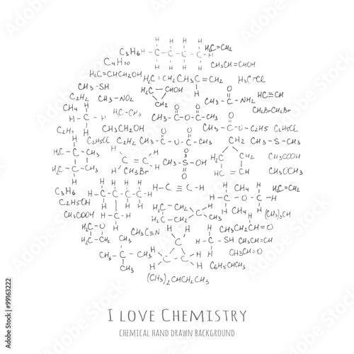 Heart Shaped Background With Handwritten Chemical Formulas Organic