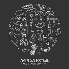 Hand drawn doodle american football set Vector illustration Sketchy sport related icons football elements, ball helmet jersey pants knee thigh shoulder pads cleats field cheerleading down indicator