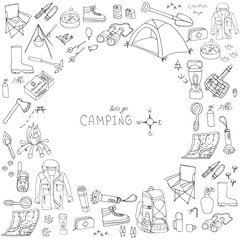 Set of hand drawn camping equipment symbols and icons, hiking, mountain climbing and camping doodle elements, vector illustration, camp clothes, shoes, gear and camp associated things