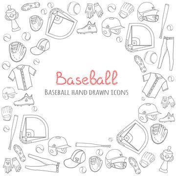 Baseball set background, hand drawn vector illustration of various stylized baseball icons, baseball equipment, baseball icons sketch, baseball field, ball, mitt