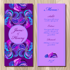 Peacock feathers wedding menu card. Printable Vector illustration
