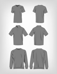 Sport grey t-shirt, sweater and polo shirt isolated set vector