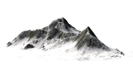 Snowy Mountains peaks separated on white background Wall mural