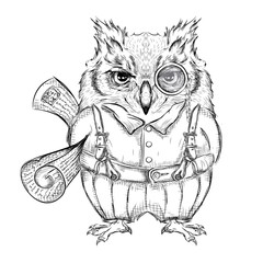 Funny owl clothing with newspaper, reading, news, e-mail. Drawing by hand. Vector illustration