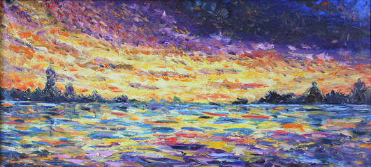 sunset over the lake, oil painting