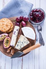 Farm fresh cheese selection on board