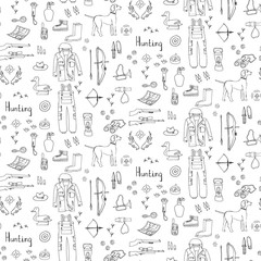 Seamless background hand drawn doodle hunting set. Vector illustration. Sketchy hunt related icons, hunting elements, hunting dog, gun, crossbow, hunting wear cloths, boots,