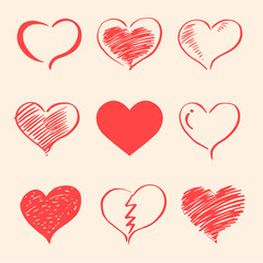 Happy Valentine's Day , heart set , vector