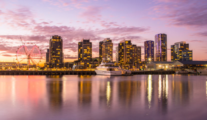 The docklands waterfront area of Melbourne in the evening, Australia.