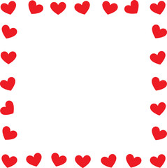 Valentine's day, Red cute hearts frame. Vector illustration