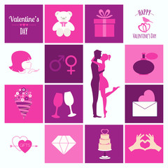 Valentine's day infographic. Flat style love graphic template