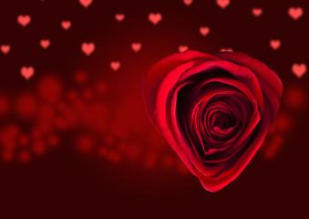 Illustratie met hartjes, gecombineerd met een rode roos die is gefotografeerd.