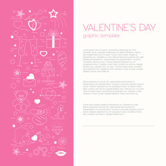 Valentine's day design template. Graphic elements with hearts, a