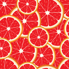 Vector seamless background of grapefruit slices.