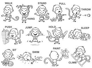 Verbs of action in pictures, cute monkey character, black and white outline