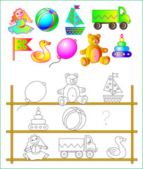 Exercises for young children - needs to paint the toys and find the missing. Developing skills for drawing and coloring. Vector image.
