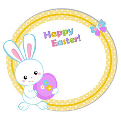 Happy Easter. Cute Easter bunny holding an egg. Vector illustration. Set Isolated separately on white background.