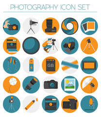 Photography icon set with photo, camera equipment. Colour flat v