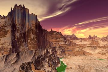 Alien planeet. Meer, rotsen en maan