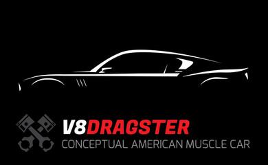 Conceptual V8 drag race muscle car silhouette. Original vehicle vector design.