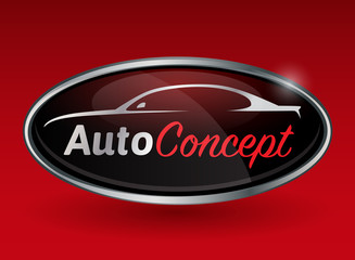 Conceptual automotive vector logo design with sports vehicle silhouette on background