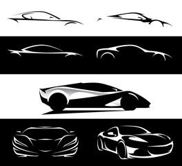 Conceptual supercar vehicle silhouette set vector design collection