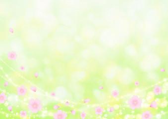 桜舞う背景 緑