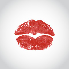 Red lips imprint in the shape of a heart on a light background. Vector illustration