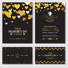 Set of Love Cards with Gold Glitter - Wedding, Valentine's Day