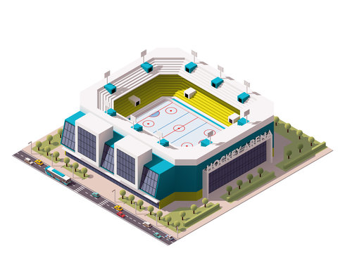 Vector isometric ice hockey arena