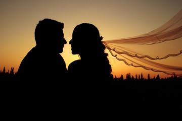 Silueta de novia y novio mirándose a los ojos al atardecer