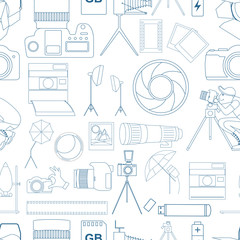 Photography seamless pattern with photo, camera equipment.