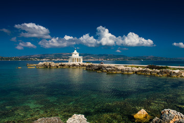 Lighthouse in Kefalonia. Landscape of Lighthouse of St. Theodore at Argostoli, Kefalonia, Ionian islands, Greece. Attraction of the island of Kefalonia. The current lighthouse on the island.