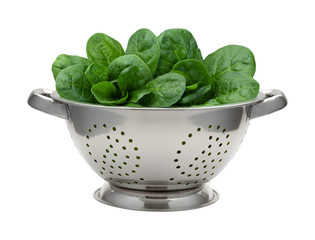 Fresh Spinach in a Stainless Steel Colander