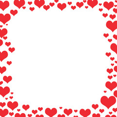 Red different shaped hearts frame on white background