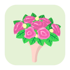 Bouquet of flowers cartoon icon