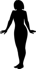 Black silhouette of a young girl in full growth. A girl's hands down and apart on a white background in vector format.