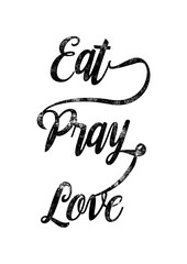 "Hand lettering typography poster.""Eat, Pray, Love"". Gold Typography. VectorEPS10."