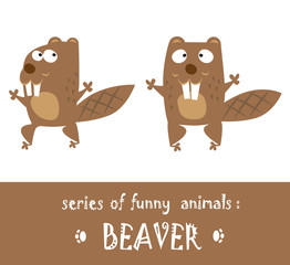 Funny beaver hand drawn in cartoon style isolated on white background. Vector illustration