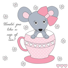 cup and mouse vector illustration