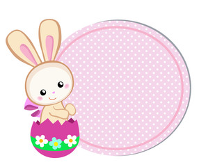 Happy Easter. Cute Easter bunny sitting in egg. Vector illustration. Set Isolated separately on white background.