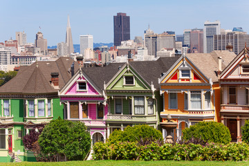 Fototapete - Painted ladies from Alamo square and SF skyline