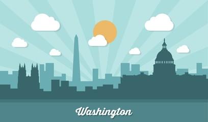 Washington skyline - flat design