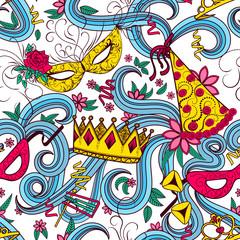 Purim holiday seamless pattern