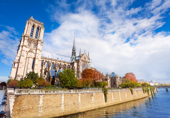 Notre Dame de Paris towering the Seine